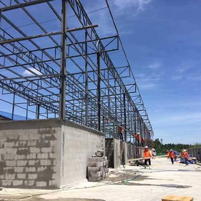 งานก่อสร้างอาคารเก็บเครื่องจักร